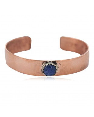 Certified Authentic Handmade Navajo Natural Lapis Native American Pure Copper Bracelet 24494-8