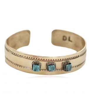 Certified Authentic Handmade Navajo Natural Turquoise Native American Brass Bracelet 24495-1