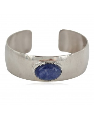 Certified Authentic Handmade Navajo Navajo Natural Lapis Native American Nickel Bracelet 13141-3