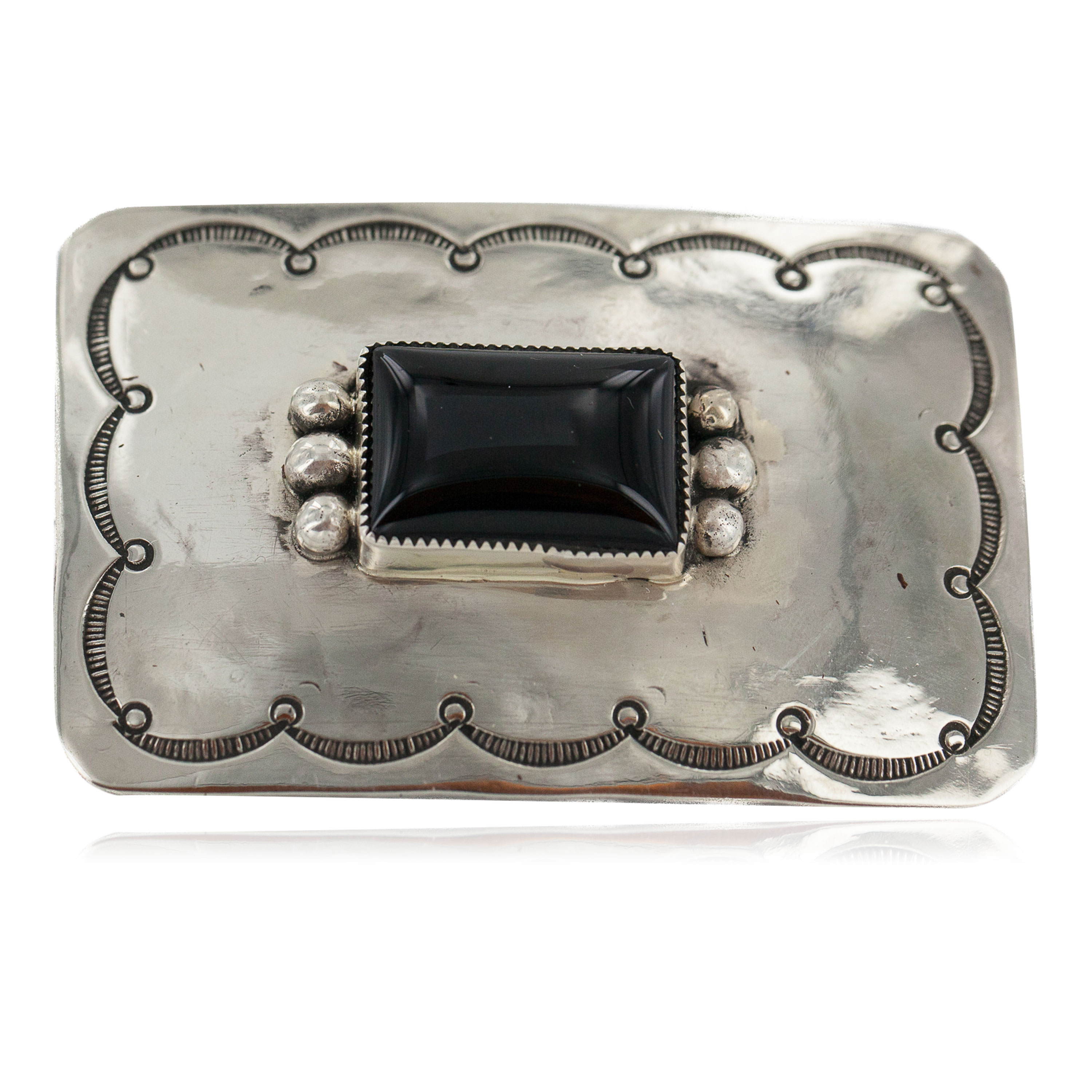 Certified Authentic Handmade Navajo Nickel Natural Black Onyx Native American Buckle 1219-2 All Products NB160406090958 1219-2 (by LomaSiiva)