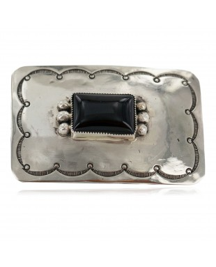 Certified Authentic Handmade Navajo Nickel Natural Black Onyx Native American Buckle 1219-2