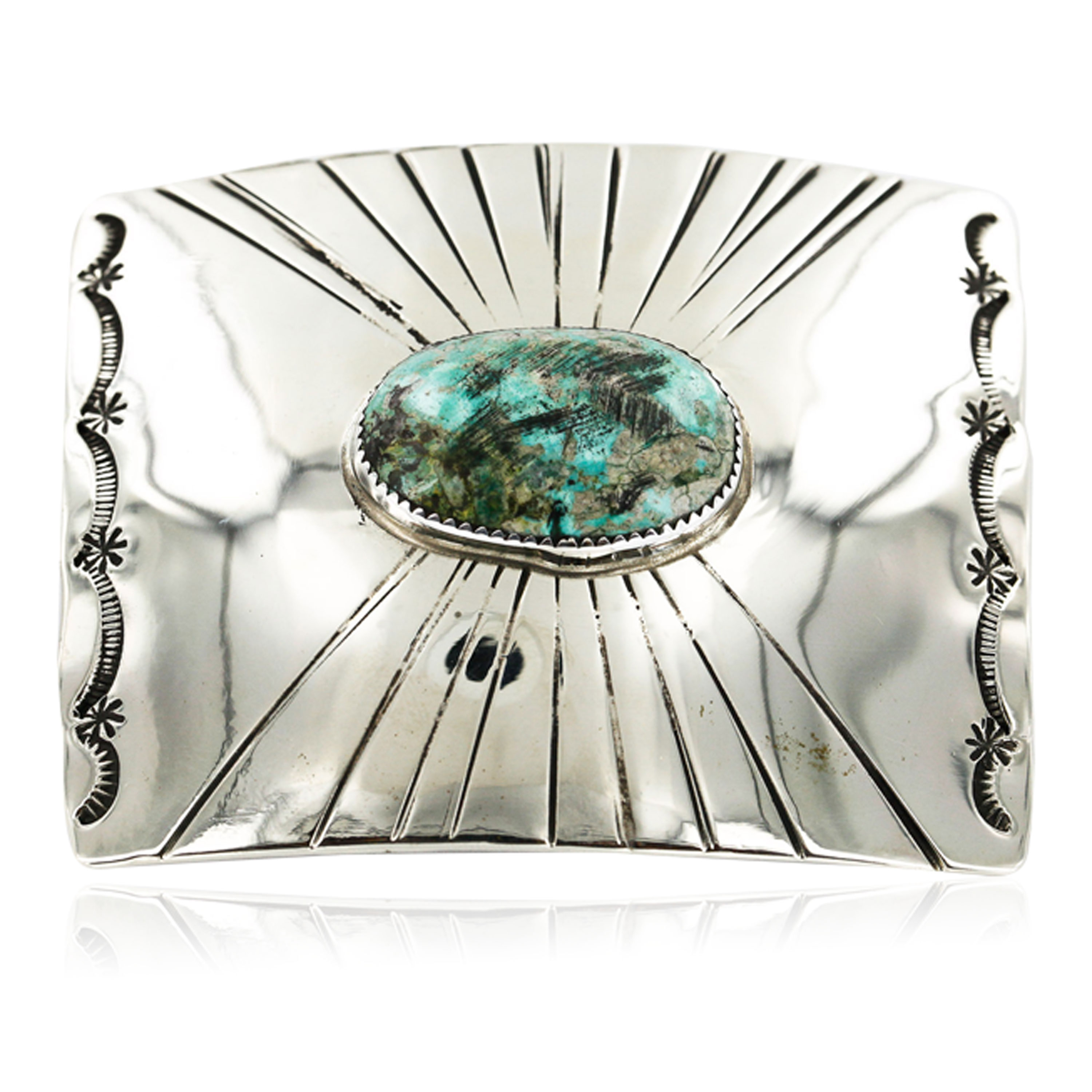 Certified Authentic Handmade Navajo Nickel Natural Turquoise Native American Buckle 1198 All Products 391265104511 1198 (by LomaSiiva)
