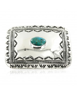Certified Authentic Handmade Navajo Nickel Natural Turquoise Native American Buckle 1204-1