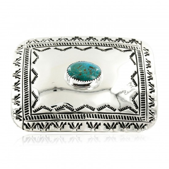 Certified Authentic Handmade Navajo Nickel Natural Turquoise Native American Buckle 1204-1 All Products 371442861722 1204-1 (by LomaSiiva)