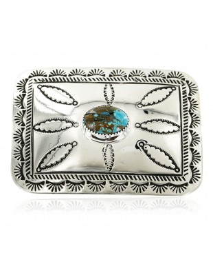 Certified Authentic Handmade Navajo Nickel Natural Turquoise Native American Buckle 1204-5
