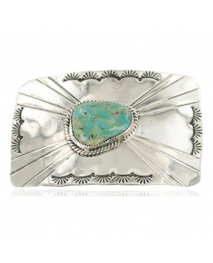 Certified Authentic Handmade Navajo Nickel Natural Turquoise Native American Buckle 1211