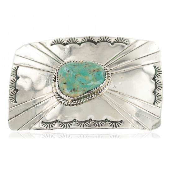 Certified Authentic Handmade Navajo Nickel Natural Turquoise Native American Buckle 1211 All Products NB160207074150 1211 (by LomaSiiva)