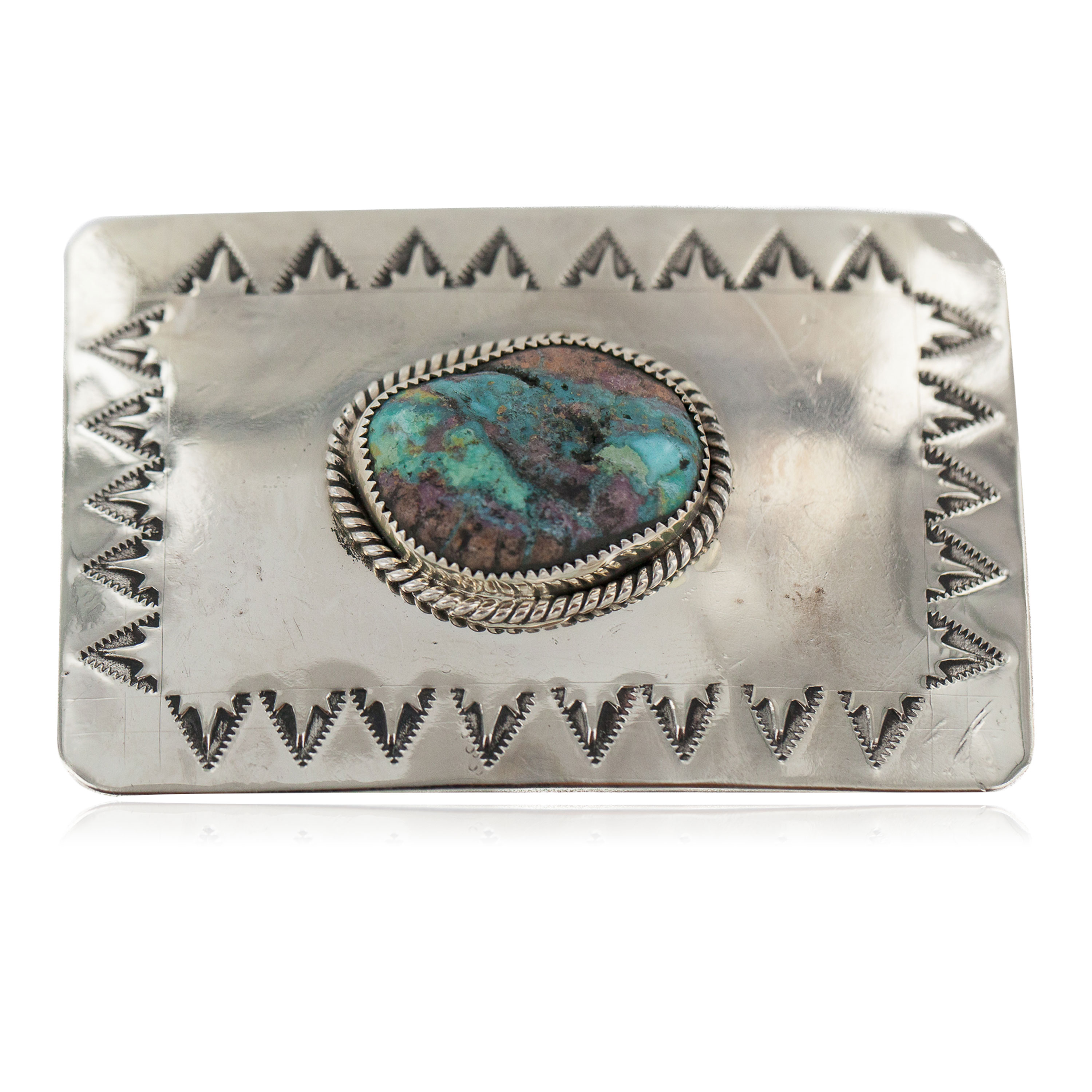 Certified Authentic Handmade Navajo Nickel Natural Turquoise Native American Buckle 1217-2 All Products NB160406085108 1217-2 (by LomaSiiva)