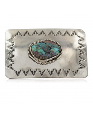 Certified Authentic Handmade Navajo Nickel Natural Turquoise Native American Buckle 1217-2