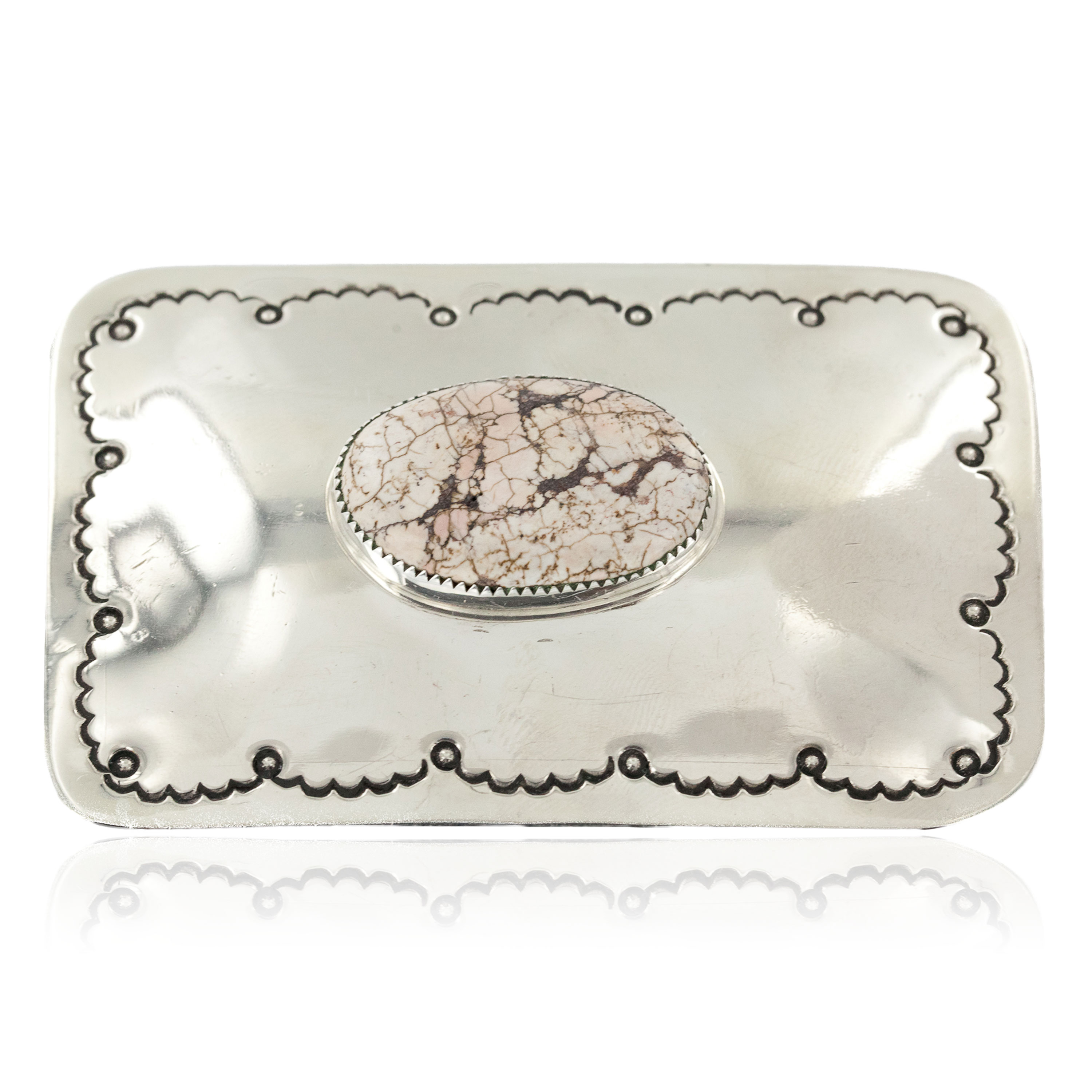 Certified Authentic Handmade Navajo Nickel White Howlite Native American Buckle 1208-1 All Products NB151215040234 1208-1 (by LomaSiiva)