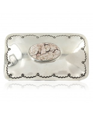 Certified Authentic Handmade Navajo Nickel White Howlite Native American Buckle 1208-1
