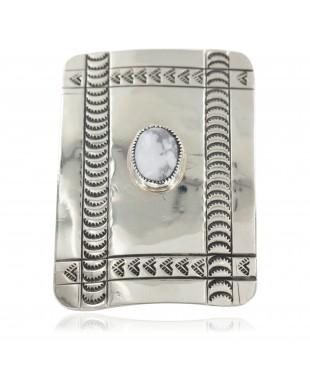 Certified Authentic Handmade Navajo Nickel White Howlite Native American Buckle 12960