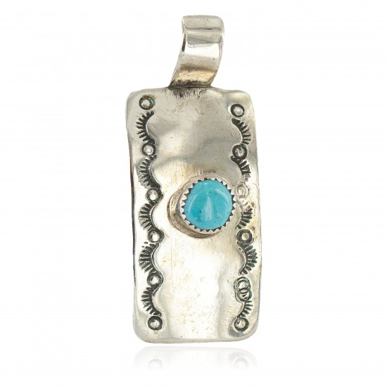 Certified Authentic Handmade Nickel Natural Turquoise Navajo Native American Pendant 13167-2 All Products NB160428212726 13167-2 (by LomaSiiva)