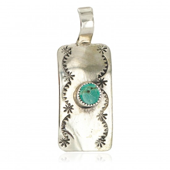 Certified Authentic Handmade Nickel Natural Turquoise Navajo Native American Pendant 13167-3 All Products NB160428213340 13167-3 (by LomaSiiva)