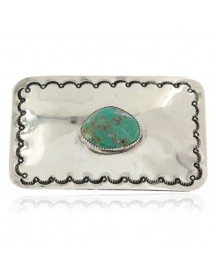 Certified Authentic Handmade Nickel Navajo Natural Turquoise Native American Buckle 1207-11