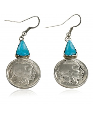 Certified Authentic Handmade Vintage Style Buffalo Nickels Navajo .925 Sterling Silver Dangle Native American Earrings Natural Turquoise 18018