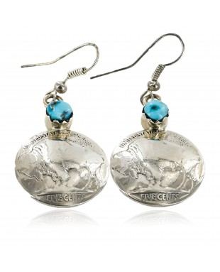 Certified Authentic Handmade Vintage Style Buffalo Nickels Navajo .925 Sterling Silver Dangle Native American Earrings Natural Turquoise 18024-0
