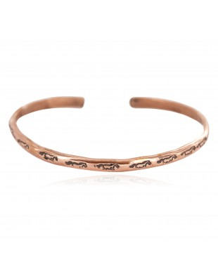 Certified Authentic Horse Handmade Navajo Native American Pure Copper Bracelet 13156-3