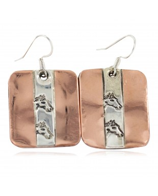 Certified Authentic Horse Head Handmade .925 Sterling Silver Navajo Native American Pure Copper Dangle Earrings 18249-6