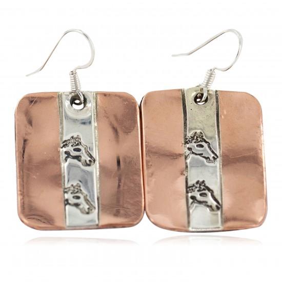 Certified Authentic Horse Head Handmade .925 Sterling Silver Navajo Native American Pure Copper Dangle Earrings 18249-6 All Products NB160402002938 18249-6 (by LomaSiiva)