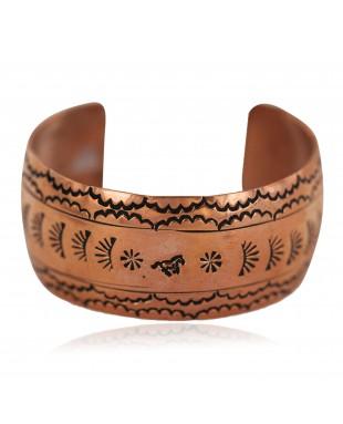 Certified Authentic Horse Navajo Handmade Native American Pure Copper Bracelet 12777-102