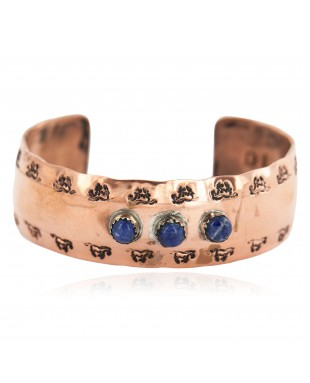Certified Authentic Horse Navajo Handmade Natural Lapis Native American Pure Copper Bracelet 24508