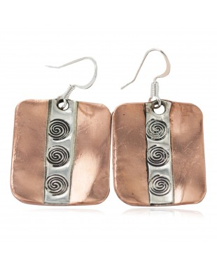 Certified Authentic Maze .925 Sterling Silver Handmade Navajo Native American Pure Copper Dangle Earrings 18249-3