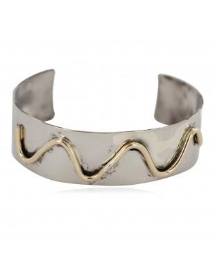 Certified Authentic Maze Handmade Navajo Native American Brass Nickel Bracelet 13142-1