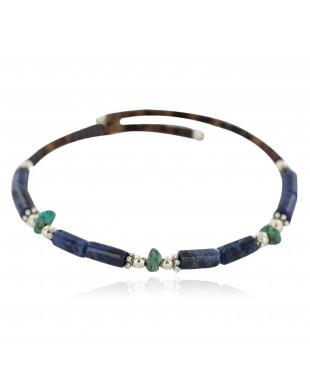 Certified Authentic Natural Heishi Lapis Turquoise Navajo Native American Adjustable Wrap Bracelet 13153-2