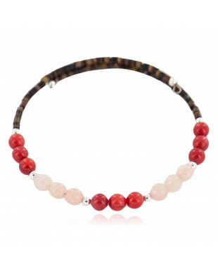 Certified Authentic Natural Pink Quartz Heishi Coral Navajo Native American Adjustable Wrap Bracelet 13151-48