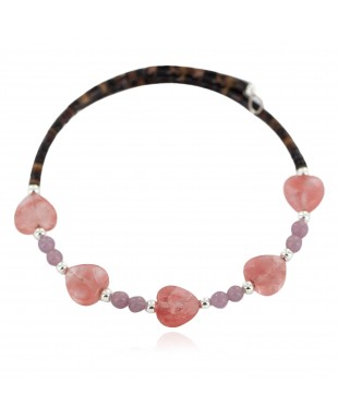 Certified Authentic Natural Pink Quartz Heishi Navajo Native American Adjustable Wrap Bracelet 13151-59