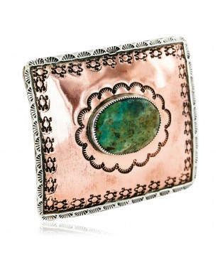 Certified Authentic Navajo .925 Sterling Silver and Copper Natural Turquoise Native American Buckle 86754563