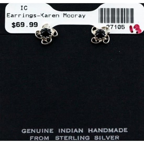 Certified Authentic Navajo .925 Sterling Silver Black Onyx Stud Native American Earrings 371129367407 All Products 27105-13 371129367407 (by LomaSiiva)