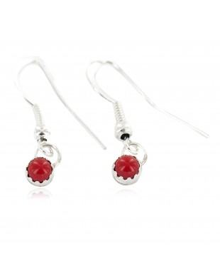 Certified Authentic Navajo .925 Sterling Silver Coral Native American Dangle Earrings 27233-2