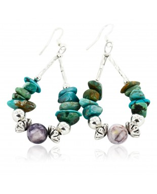 Certified Authentic Navajo .925 Sterling Silver Hooks Natural Turquoise and Jasper Native American Earrings 18098-1