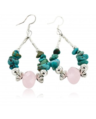 Certified Authentic Navajo .925 Sterling Silver Hooks Natural Turquoise Pink Quartz Native American Earrings 18098-3