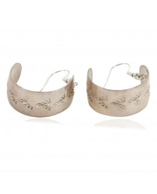 Certified Authentic Navajo .925 Sterling Silver Hoop Native American Earrings 18182