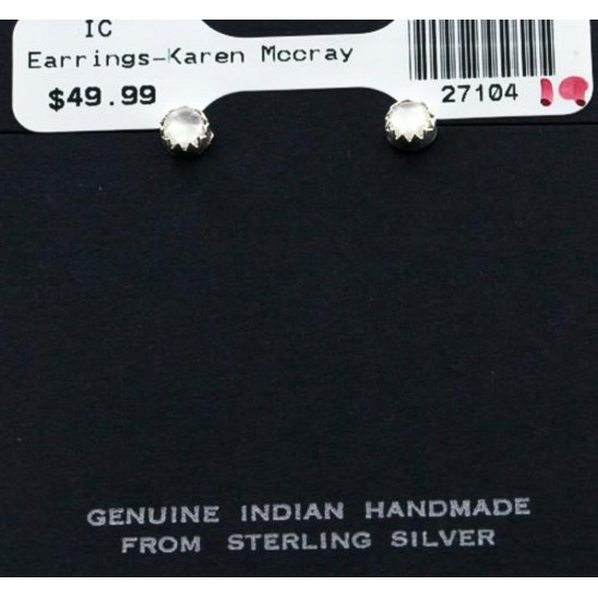 Certified Authentic Navajo .925 Sterling Silver Mother of Pearl Stud Native American Earrings 371124499963 All Products 27104-19 371124499963 (by LomaSiiva)
