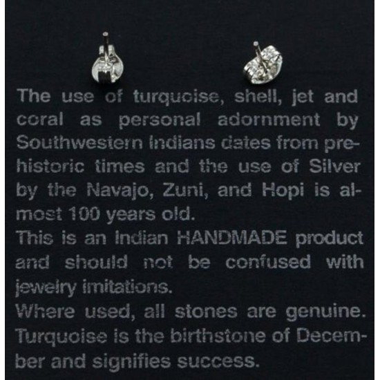 Certified Authentic Navajo .925 Sterling Silver Mother of Pearl Stud Native American Earrings 390918540674 All Products 27105-16 390918540674 (by LomaSiiva)