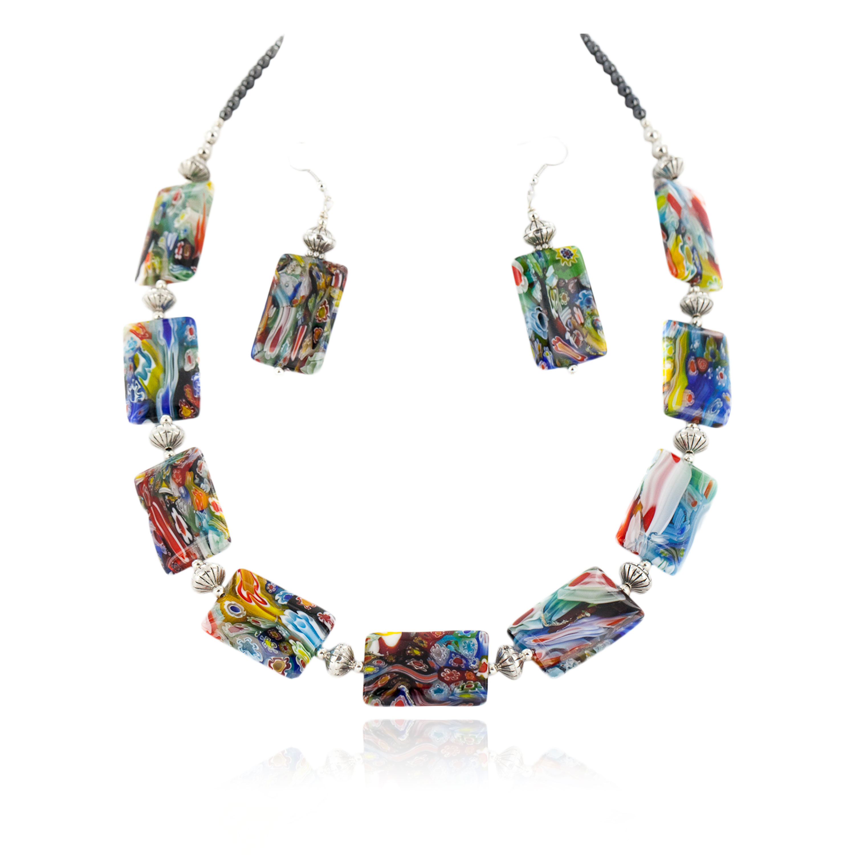 Certified Authentic Navajo .925 Sterling Silver Multicolor Glass Natural Hematite Set 17057 Sets NB160113214134 17057 (by LomaSiiva)