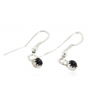Certified Authentic Navajo .925 Sterling Silver Natural Black Onyx Native American Dangle Earrings 27233-7