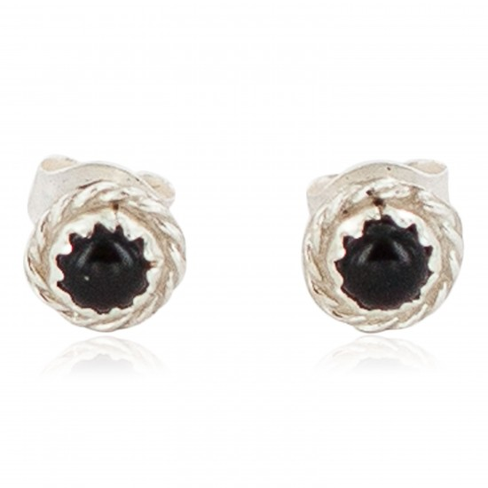Certified Authentic Navajo .925 Sterling Silver Natural Black Onyx Native American Stud Earrings  27228-4 All Products NB160304003510 27228-4 (by LomaSiiva)