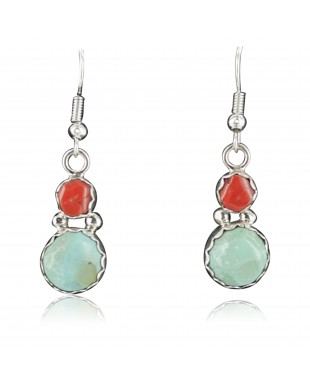 Certified Authentic Navajo .925 Sterling Silver Natural Coral and Turquoise Hoop Native American Earrings 371041763023