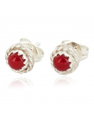 Certified Authentic Navajo .925 Sterling Silver Natural Coral Native American Stud Earrings  27228-3