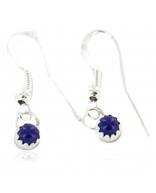 Certified Authentic Navajo .925 Sterling Silver Natural Lapis Native American Dangle Earrings 27233-6