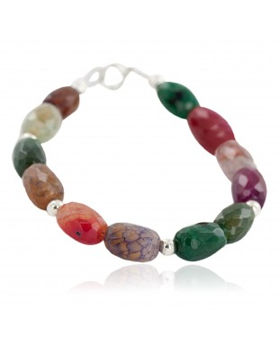 Certified Authentic Navajo .925 Sterling Silver Natural Multicolor Stones Native American Bracelet 13038-20