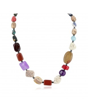 Certified Authentic Navajo .925 Sterling Silver Natural Multicolor Stones Native American Necklace 7501004-4