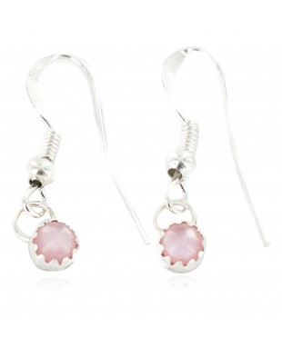 Certified Authentic Navajo .925 Sterling Silver Natural Pink Mother of Pearl Native American Dangle Earrings 27233-1