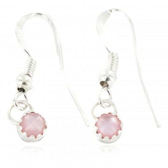 Certified Authentic Navajo .925 Sterling Silver Natural Pink Mother of Pearl Native American Dangle Earrings 27233-1 All Products NB160506181421 27233-1 (by LomaSiiva)