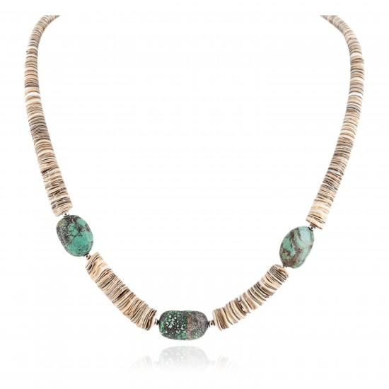 Certified Authentic Navajo .925 Sterling Silver Natural Spiderweb Turquoise and Graduated Heishi Native American Necklace 7501008-86 Clearance NB160131220725 7501008-86 (by LomaSiiva)